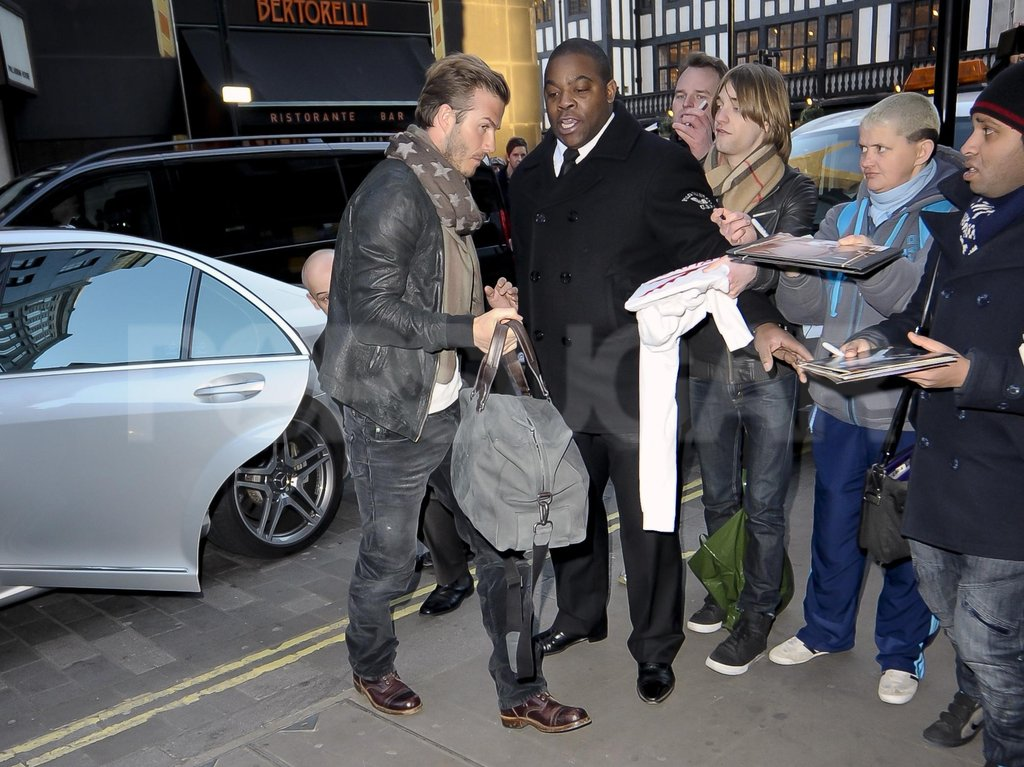 David Beckham greeted fans in London.