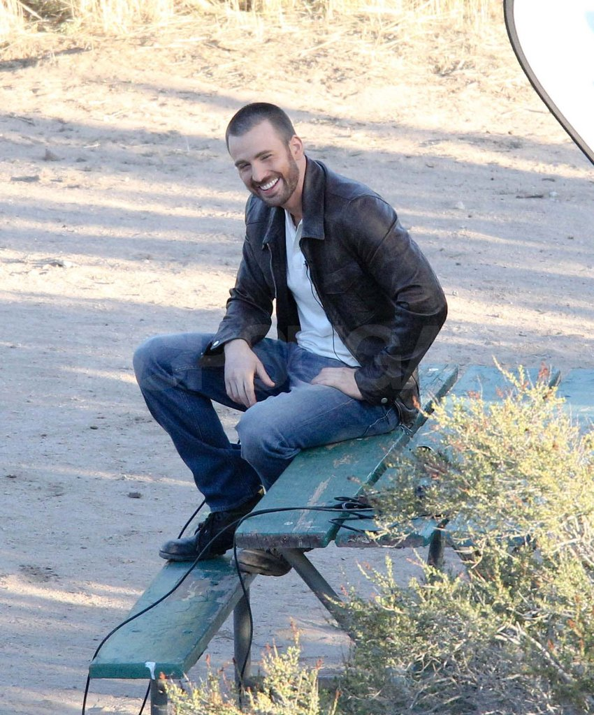 Chris Evans on a Details photo shoot.