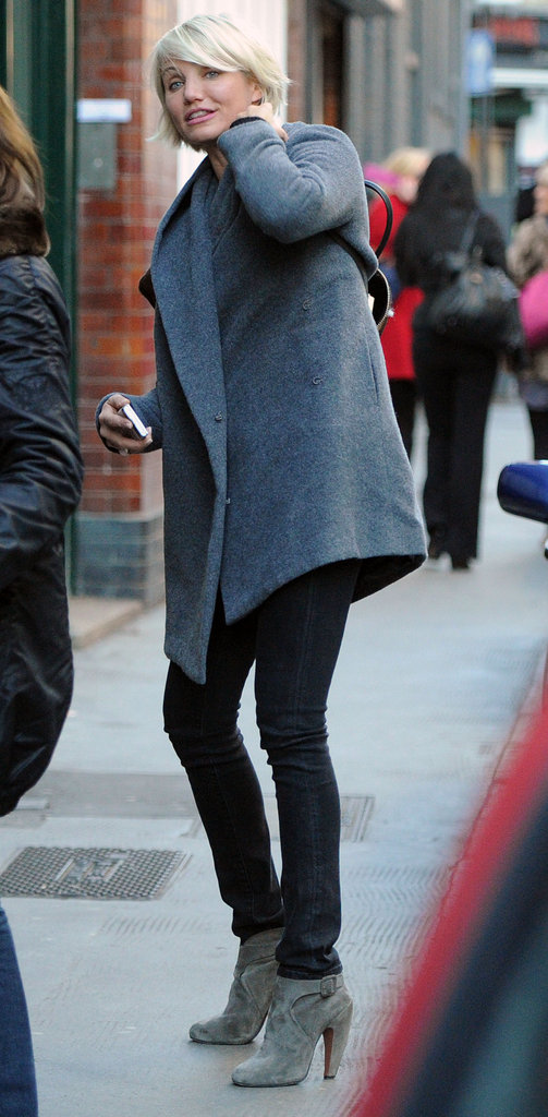 Cameron Diaz in a gray coat in London.
