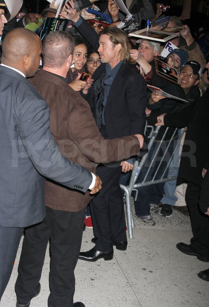 Brad Pitt talked to his fans in NYC.