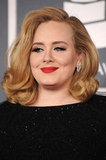 Adele with red lipstick at the Grammys.