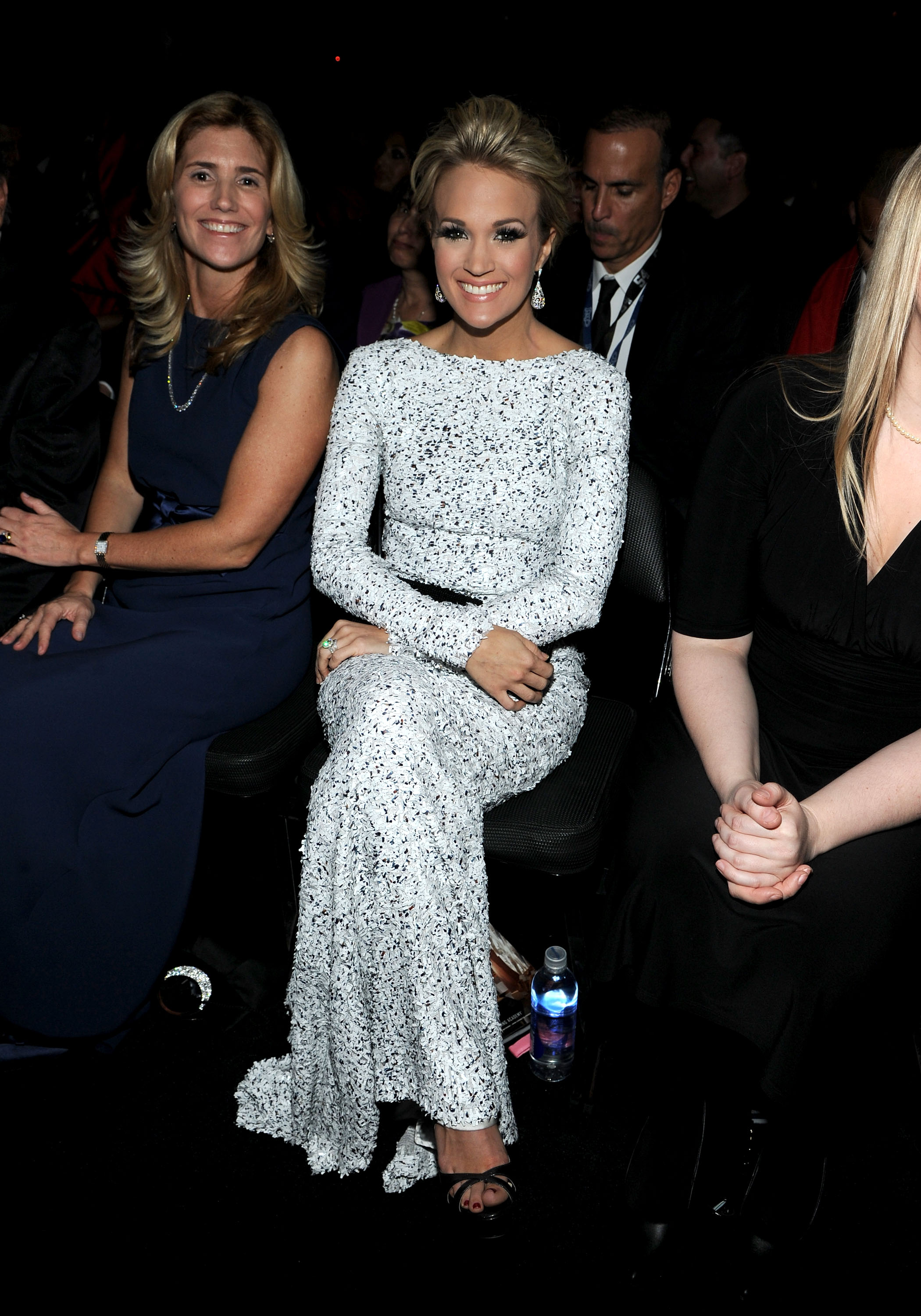 Carrie Underwood was all smiles in her front-row seat.