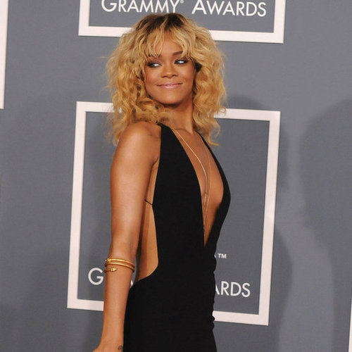 Rihanna Sexy Black Armani Dress Pictures at 2012 Grammys