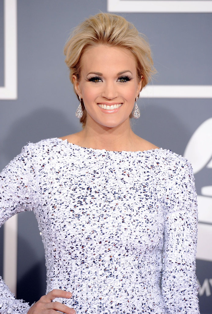 Carrie Underwood Sparkles in a Backless White Number For the Grammys