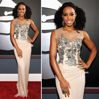 Kelly Rowland in Albert Ferretti Gown on the Red Carpet at the 2012 Grammy Awards
