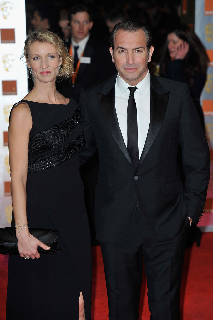 French couple Jean Dujardin, nominated for The Artist, and Alexandra Lamy arrive.