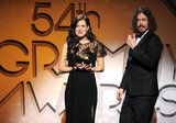 Joy and John Paul accepted one of their awards at the 2012 Grammys.