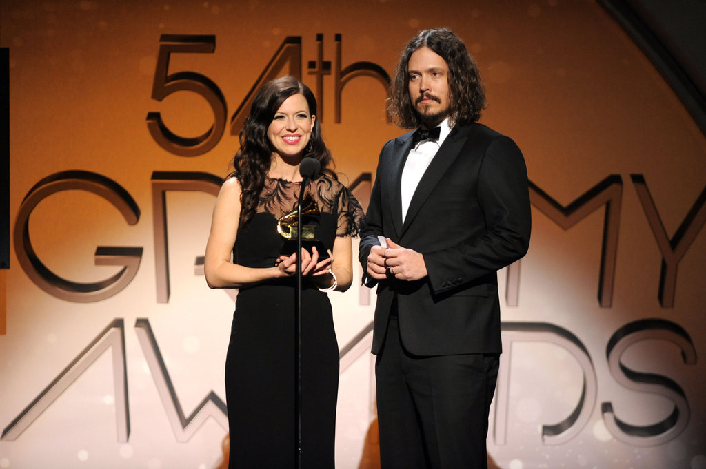 Joy and John Paul accepted their award at the 2012 Grammys.