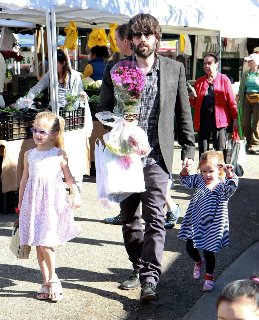 Ben Affleck with Violet and Seraphina at the farmers market.