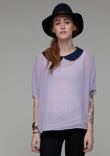 The lavender hue and pop of black make a killer contrast that's just a little edgy and a whole lot sweet.  Need Supply Louisa Top ($38)