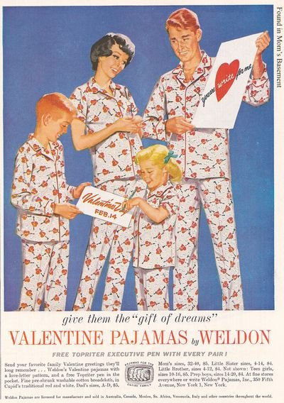 Nothing says sexy romance like V-Day PJs for the whole family!