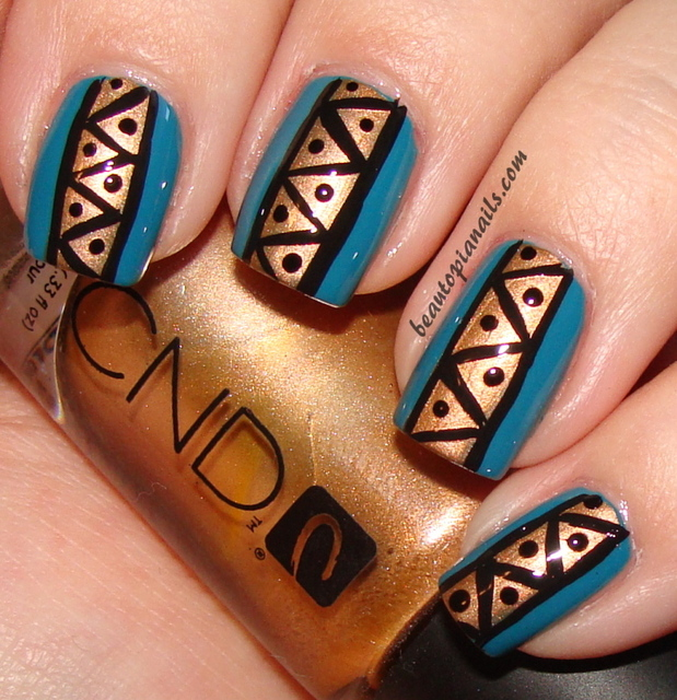 Here is a simple tribal nail design using Illamasqua Muse as a base