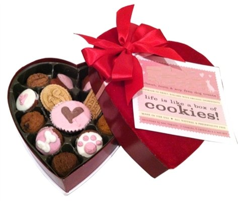 "On Valentine's Day, nothing says ""I love you"" quite like a box of chocolates. Of course, we'd hate to poison our pups on a day celebrating love, so this box contains only treats suitable for poochy palates!"
