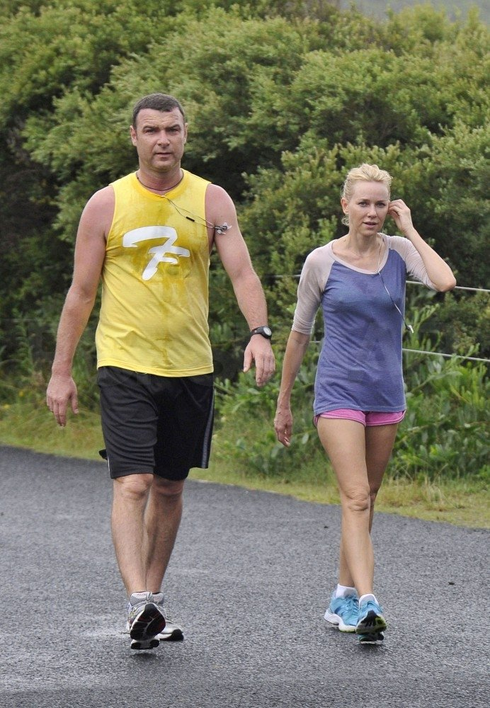 Liev Schreiber and Naomi Watts cooled down after a run.