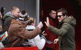 Jake Gyllenhaal said hi to fans in Berlin.