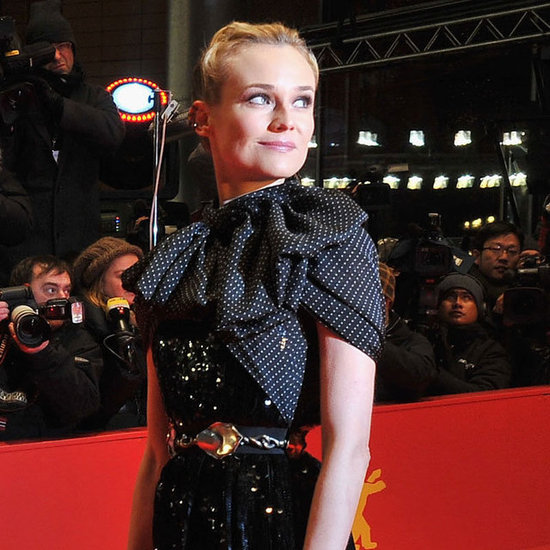 Diane Kruger gave photographers an over the shoulder look.