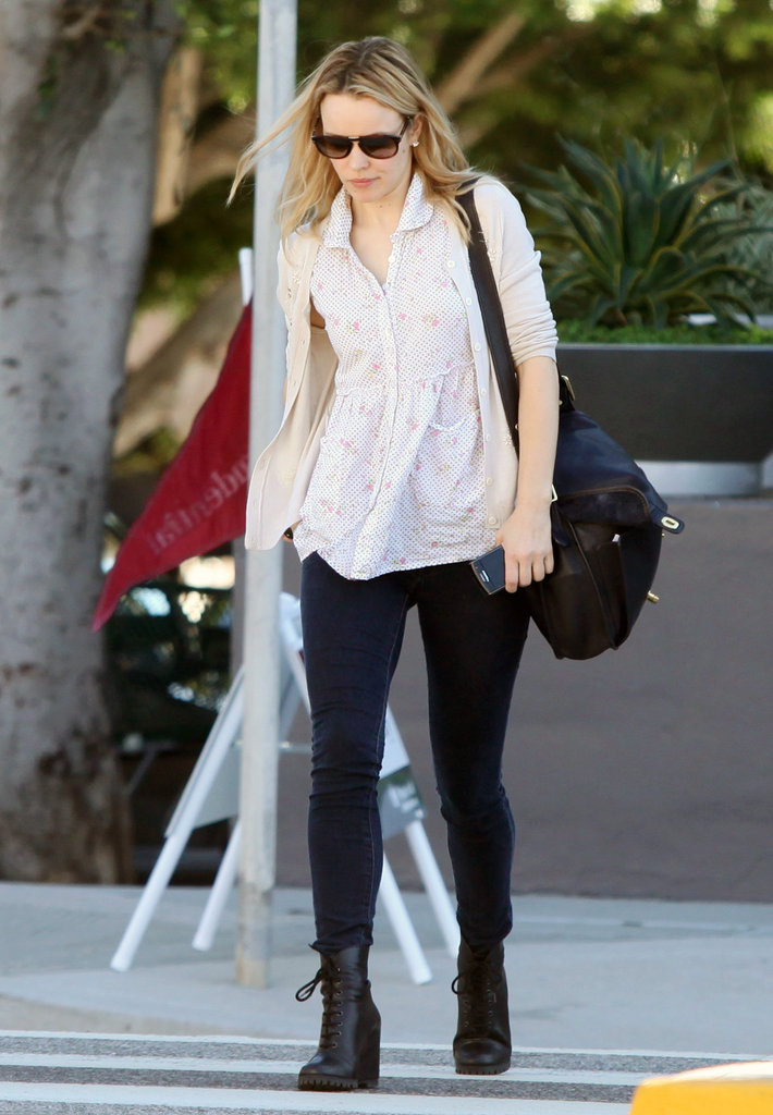 Rachel wore platform boots for her stroll around LA.