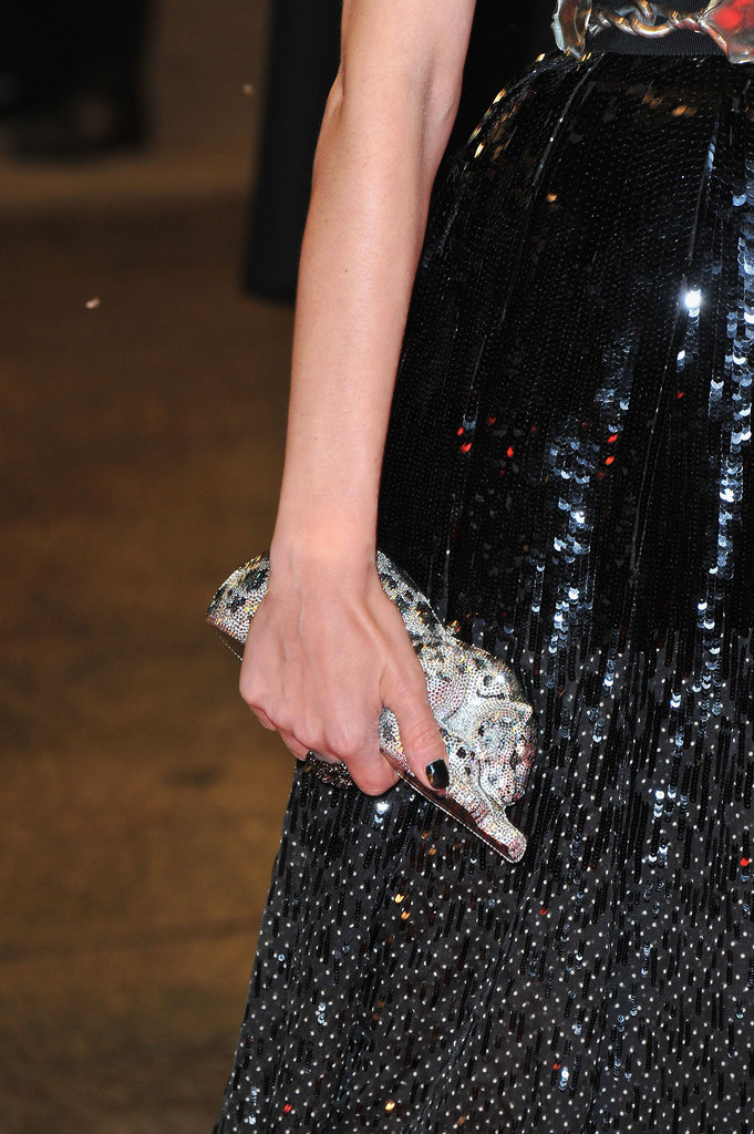 Diane Kruger carried a Judith Leiber wildcat crystal-embellished clutch.