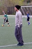 David Beckham hung on the sidelines while Brooklyn practiced.