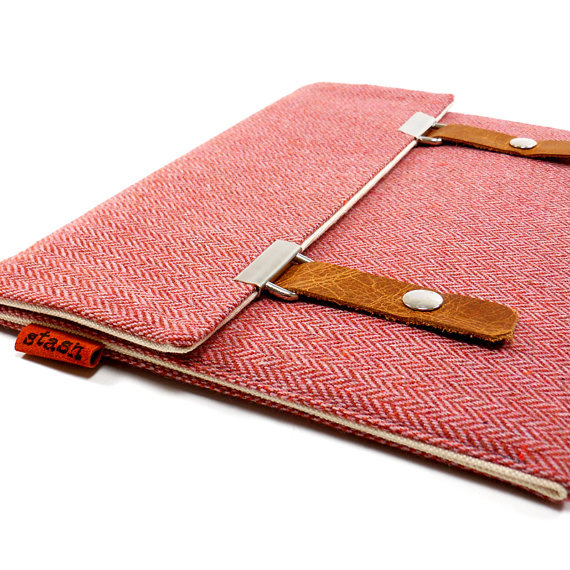 Pink herringbone tablet case ($75).