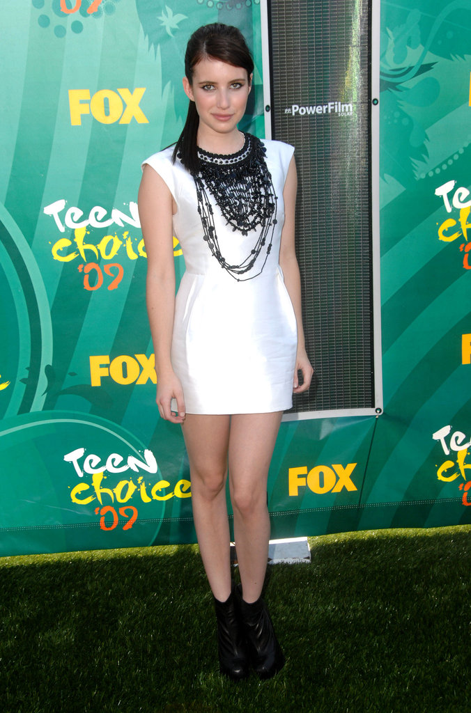 Fringed embellishments and ankle boots added a funky element to Emma's LWD at the 2009 Teen Choice Awards.