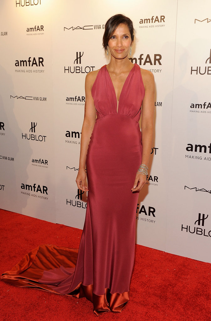 Padma Lakshmi kept it simple in a satin halter gown.