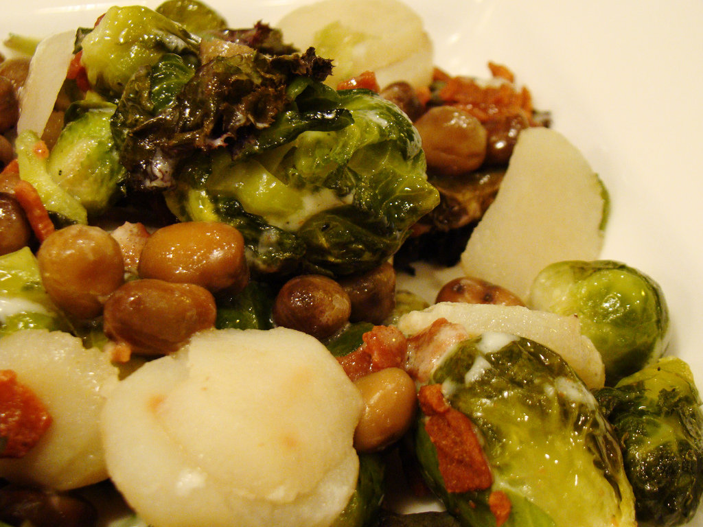 Warm Bean and Brussels Sprout Salad