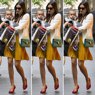 Miranda Kerr Yellow Pleated Skirt