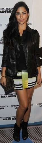 Camila Alves Striped Neon Skirt