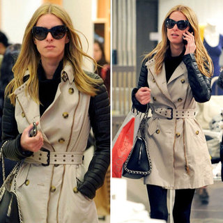 Nicky Hilton Leather-Sleeve Trench Coat
