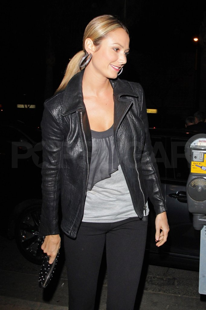 Stacy Keibler wore a leather jacket to dinner.