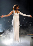 Whitney Houston wore white to perform at the 2009 American Music Awards.
