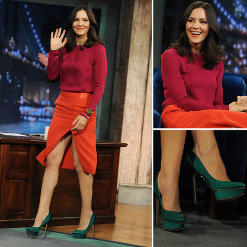 Katharine McPhee Orange Slit Skirt