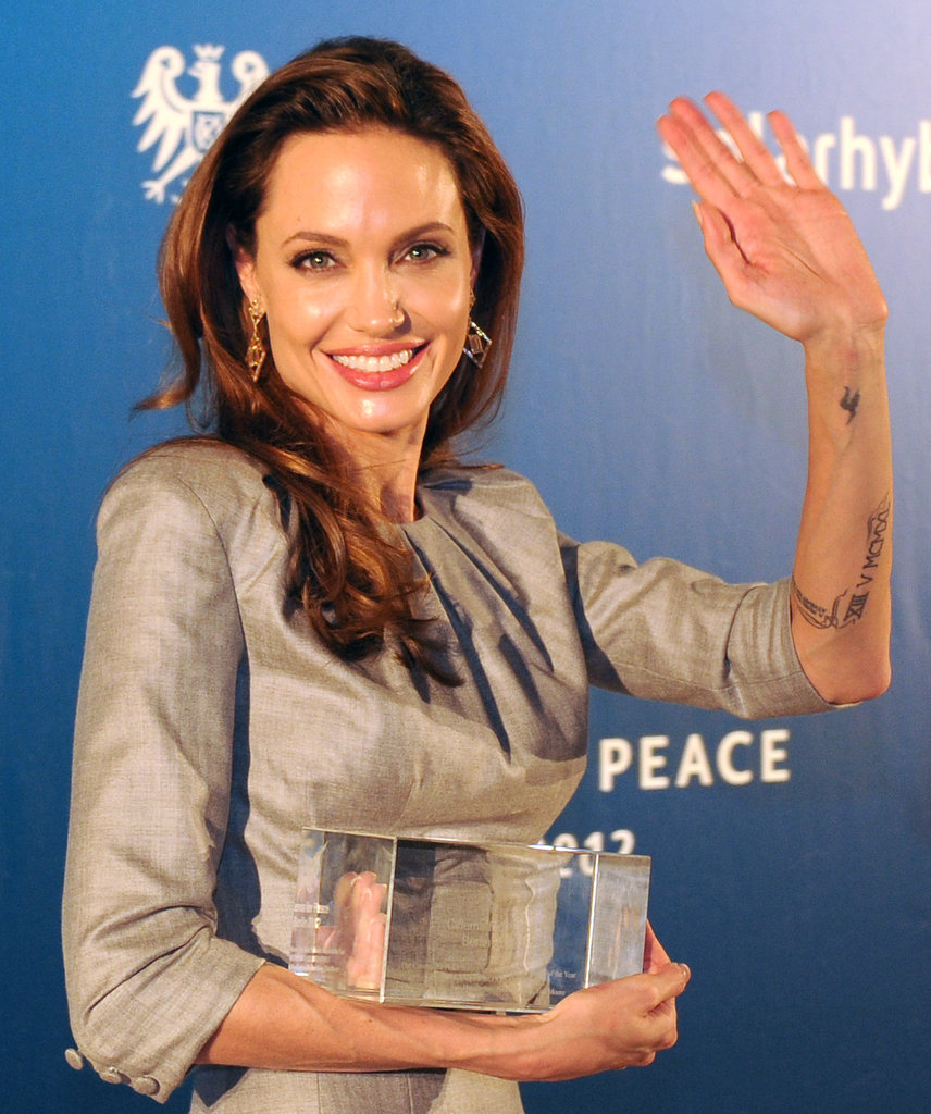 Angelina Jolie was honored for her film's message against war and genocide.