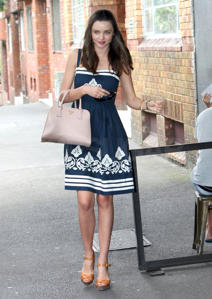 Miranda looked ready for Spring in her navy dress.