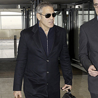 George Clooney Pictures at Heathrow Post-BAFTAs