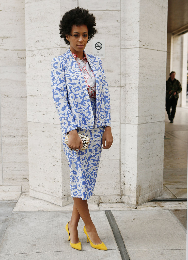 Solange Knowles spotted in a colorful printed skirt suit by Diane von Furstenberg.