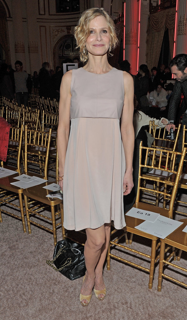 Kyra Sedgwick in a pretty nude dress and matching pumps at Thakoon.