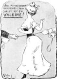 It takes two men to corset this woman in this 1905 ad.