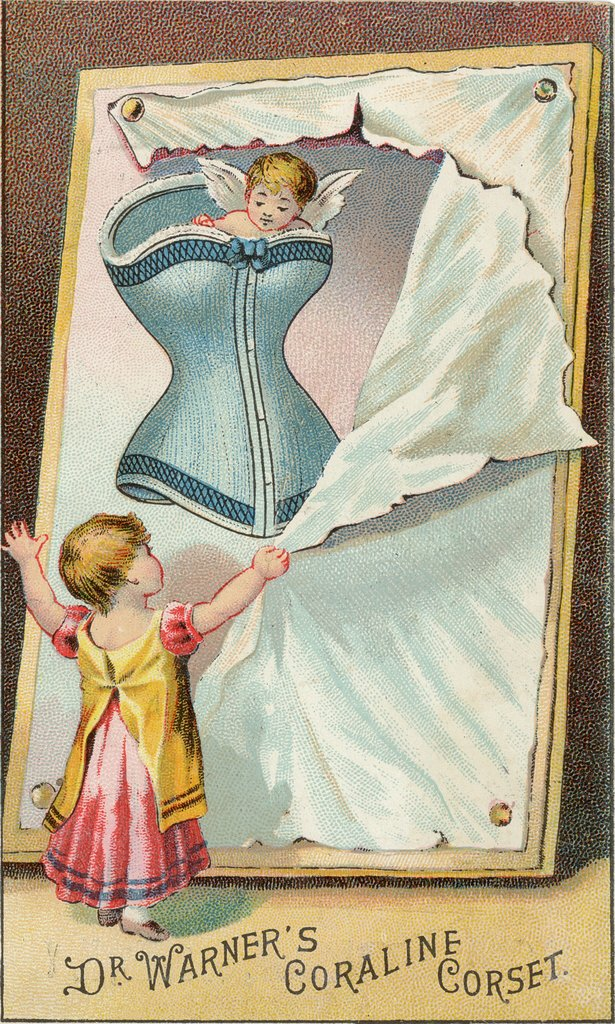 Popular thought, magazine articles, and advertisements into the early 20th century warned that abandoning the corset while pregnant could lead to a permanently stretched-out uterus and abdomen. The only concession was a few laces were added, so a woman could let the bodice out as her stomach grew.