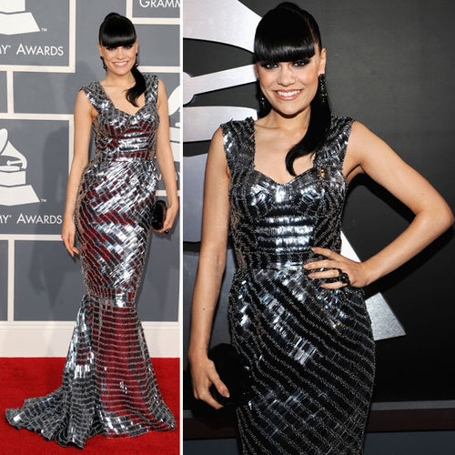 Pictures of Jessie J in Mirror Ball Julien Macdonald Silver Gown at the 2012 Grammy Awards