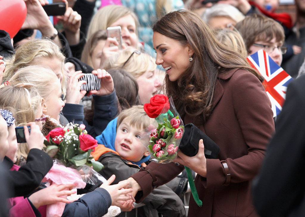 Kate Middleton said hello to admirers.