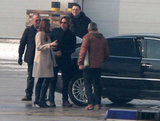 Brad Pitt and Angelina Jolie Arrive in Bosnia Holding Hands