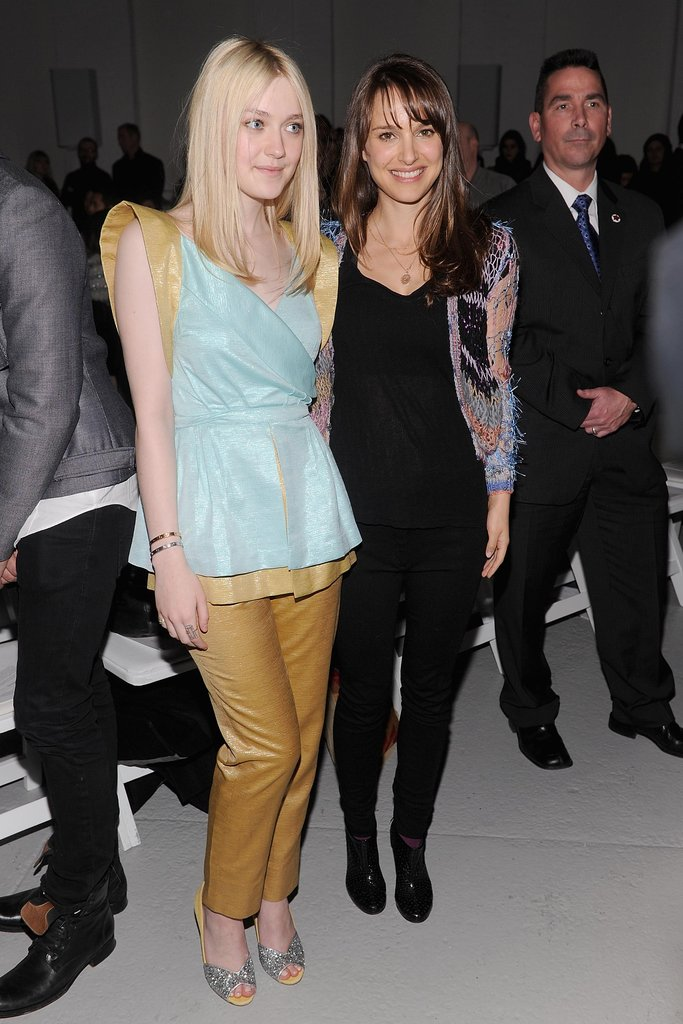 Natalie Portman and Dakota Fanning during NY Fashion Week.