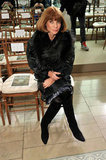 Anna Wintour donned leather and fur at Tory Burch.