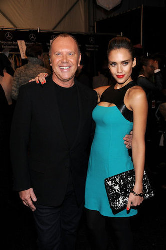 Michael Kors got a congratulatory hug from Jessica Alba.