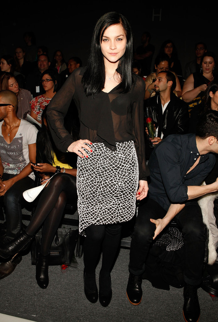 Leigh Lezark sported a sheer blouse and pretty skirt combo at Emerson.
