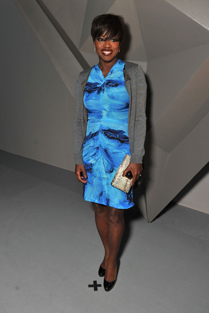 Viola Davis opted for pretty blue hues at Vera Wang.