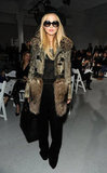Rachel Zoe added quintessential Winter-cool with a textured fur topper at Rodarte.