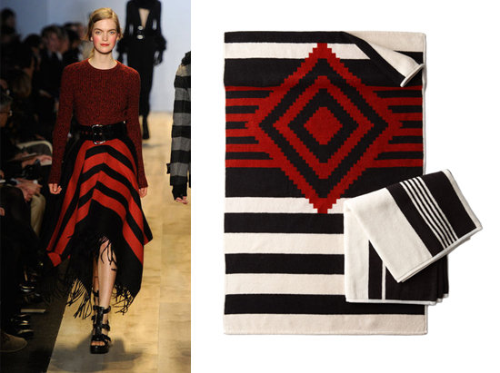 Red-and-Black Blanket Skirt = Native Print Towels